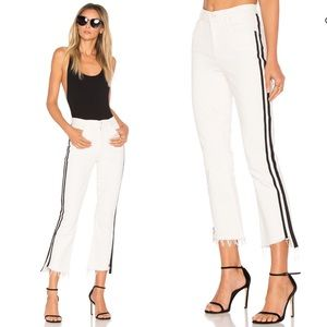 MOTHER Jeans Insider Crop Step Fray White & Black